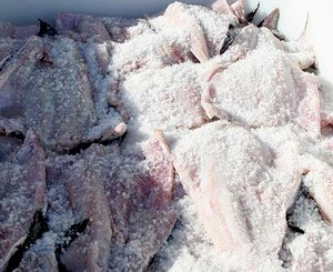 Salt-covered fish