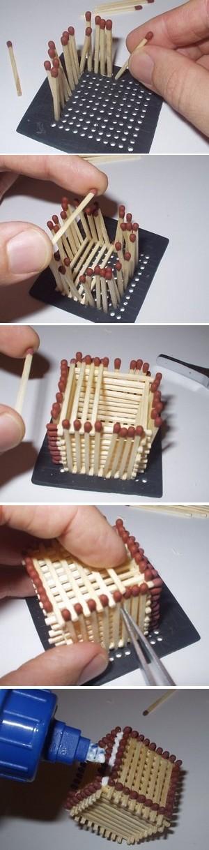 Созданине кубика из спичек