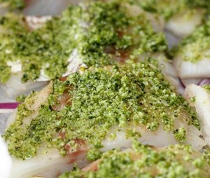 Cod fillet with pesto sauce