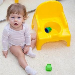 Маленькая девочка возле желтого горшка