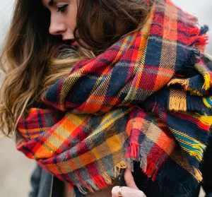 Warm scarf around the neck