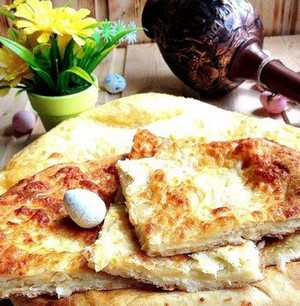 Pieces of khachapuri on the table
