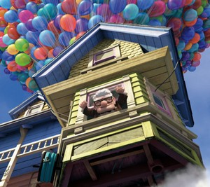 An old man in a ballooning house