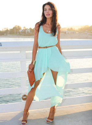 Turquoise short dress with a train