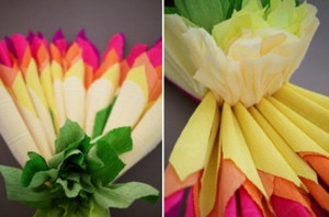 Corrugated paper flowers