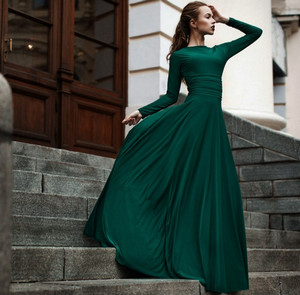 платья в пол с длинным рукавом фото 2015-2016