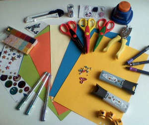 Materials to create a postcard