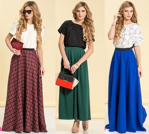 Model in long skirts in different colors