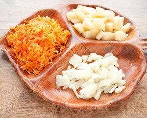 Chopped onions, carrots and potatoes
