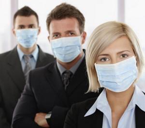 Office staff in medical masks