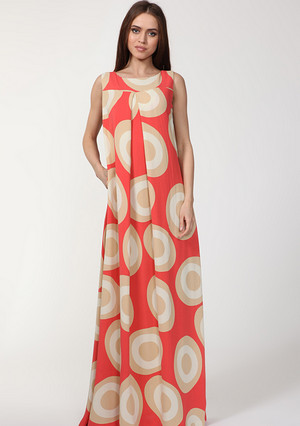 Dress with large circles a-silhouette