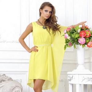 Yellow dress asymmetrical cut