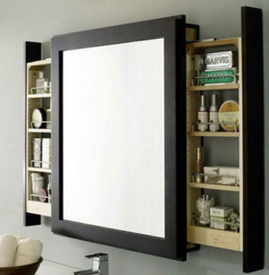 Mirror with shelves on the sides