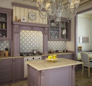 Kitchen set in lavender colors