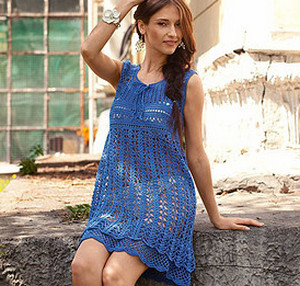 Blue openwork dress