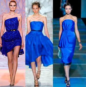 Three girls on the catwalk in blue shades