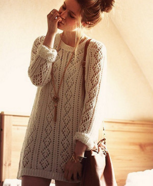 White knitted sweater dress