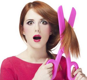 Women's shears pink hair with scissors