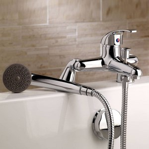 Single lever bath mixer with shower
