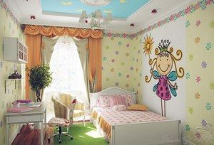 Color room with a large bed and a princess on the wall