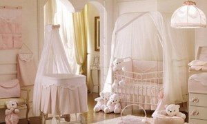Children's room with a bed. and cradle