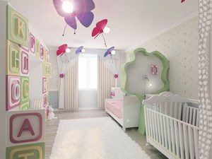 Room for the little ones with a bed and large letters