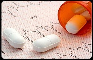 On the cardiogram scattered tablets