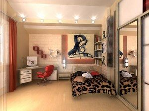 Decorated room with a bed, table, large closet and posters