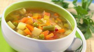 Vegetable soup in the plate
