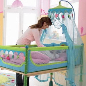 Blue canopy with toys over the bed