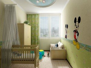 Bright children's room with mykimausy on the wall