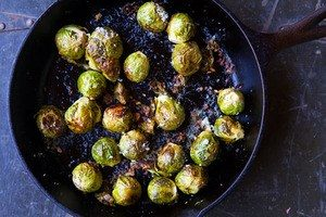 Brussels sprouts braised in a frying pan