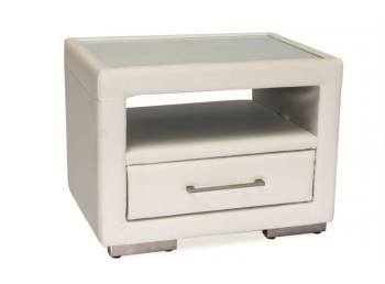 white and soft bedside table with one drawer