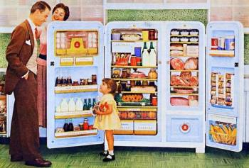 little girl at the fridge on plowing