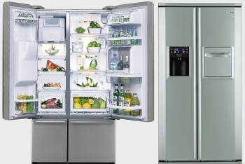 view of the refrigerator outside and inside