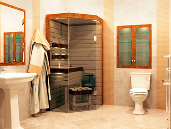 Compact sauna in the apartment room